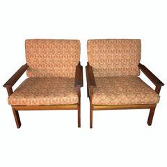 SOLD!! Pair of George Tainer Mid-Century Modern Danish Teak Open Armchairs