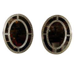 ON SALE NOW! Pair of Bullseye Antiqued Oval Venetian Style Mirrors