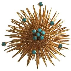 Spectacularly Cultured and Refined 1950's Starburst Brooch Exquisite Turquoise