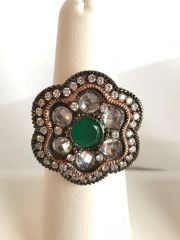 Swavorski and Silver .925 Green Peridot Gemstone Flower Ring