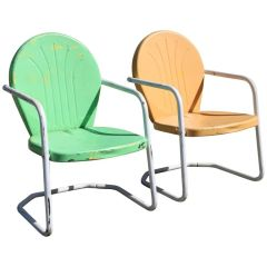 Summertime! Tangerine and Lime Green Retro Rockers Vintage 1950s Outdoor Chairs