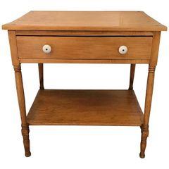 SOLD!! Vintage Farmhouse Side Table or Mini Dresser with Floral Design Porcelain Knobs