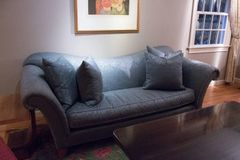 Fantastic Sofa! Art Deco Silk Graciously Curved With Down Cushions and Pillows