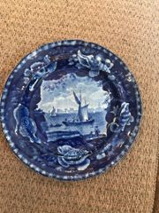 SOLD!! American Historical Dark Blue Staffordshire Plate with Shell Border