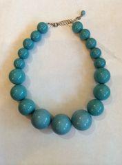 Vintage Robin's Egg Blue Bauble Beads Necklace