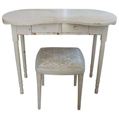 SOLD! Petite Hollywood Regency/Shabby Chic Distressed White Vanity & Upholstered Bench