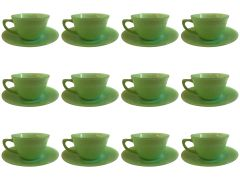 SOLD!!! Terrific Set of Jadeite - Fire King Anchor Hocking 12 Cup 14 Saucer Set Magnific