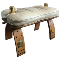 SOLD!! Unique Egyptian Camel Bench or Ottoman Creme Colored Leather Seat