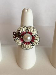 Swavorski and Silver White Flower Ring with Butterfly