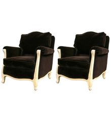 SOLD! French Art Deco Down Chocolate Mohair Chairs Possibly Maurice Dufrene