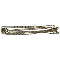 SOLD!!! Glorious 1960's Freirich Stamped Peridot Chain Link Vintage Long Necklace
