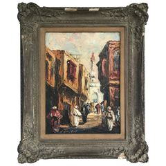 "SOLD!! ""A Street in Cairo"" circa 1934, Oil on Masonite, Signed ""L. Gechtoff"""