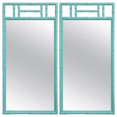 SOLD!! Got Gorgeous? a Jewel of a Pair, Tiffany Blue Bamboo Form Mirrors, Hollywood