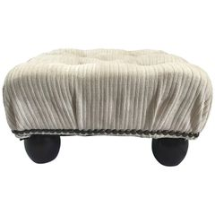 SOLD!! Ethan Allen Petite Crème White Tufted Velvet Ottoman with Brass Nailheads