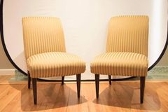 SOLD!! Pair of High Quality Viennese Biedermeier Style Art Deco Flare Slipper Chairs