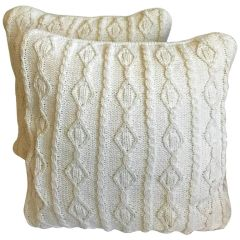SOLD - A Pair of Beautiful White Hand Crocheted Pillows. Zipper Sides Fine Detail Down
