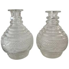 SOLD!! Beautiful Pair of Mid-19th Century Anglo Lush Blown and Cut Glass Decanter's