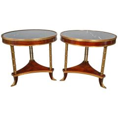 SOLD!!! Pair of Jansen Style Marble-Top Bamboo Form End/ Bouillotte Tables