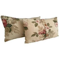 SOLD!! Two Sweet Vintage French Floral Pillows, Shabby Chic French Country Estate