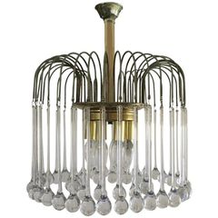 "SOLD!! Mid-Century Modern Chandelier Murano Drops Create the ""Fire Works"" Effect"