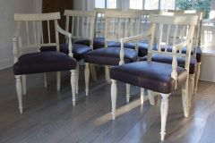 ON HOLD! Superb! Set of 8 Gustavian Dining Chairs Plum Fabric w Plum Piping Exquisite!