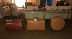 SOLD!! FABULOUSLY FUN MID CENTURY Vintage Leather Luggage! SET OF THREE