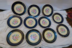 SOLD!1 Stunning Set of 11 Cobalt Blue Fondeville Ambassador Luncheon Plates