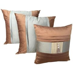ON SALE NOW! PRICE REDUCED! Three Lee Jofa Silk Pillows Sandstone Brown, Graphite Blue and Indian River Taup