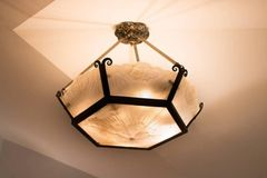 SOLD! French Art Deco Hexagon Chandelier -- Beautiful Etched Glass with Floral Design