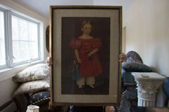 SOLD! A Pair of Framed Primitive Art by Aalund Girl With Doll Boy With Ark