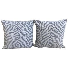 SOLD! Set of Two Lavender & White Zebra Stripped Glorious Schumacher Fabric Pillows