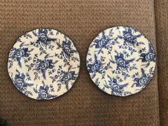 SOLD!! Wood & Sons - Set of 2 'Colonial Rose' Blue Salad Plate England