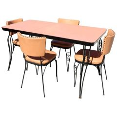 Retro Peachy Mid-Century Modern Formica Table Four Chairs, Iron Frame, 1950s