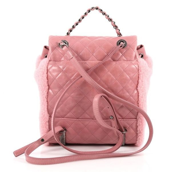 960cd4e7aaa9 SOLD Authentic Chanel Backpack Pink Shearling Quilted Calfskin ...
