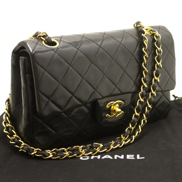 4e4c17886807ee SOLD Authentic Chanel Black Quilted Lambskin Double Flap Shoulder Bag 2.55