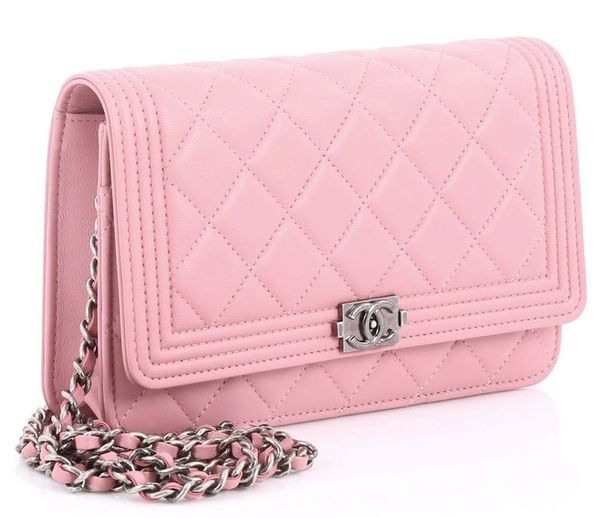 30b3e41f0e99 SOLD Chanel Boy Cross Body Bag Quilted Lambskin Pastel Pink Leather WOC
