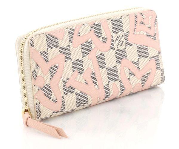 078dcad67c2ba SOLD Louis Vuitton Tahitienne Clemence Zippy Wallet Azur Damier Ballerine  Pink