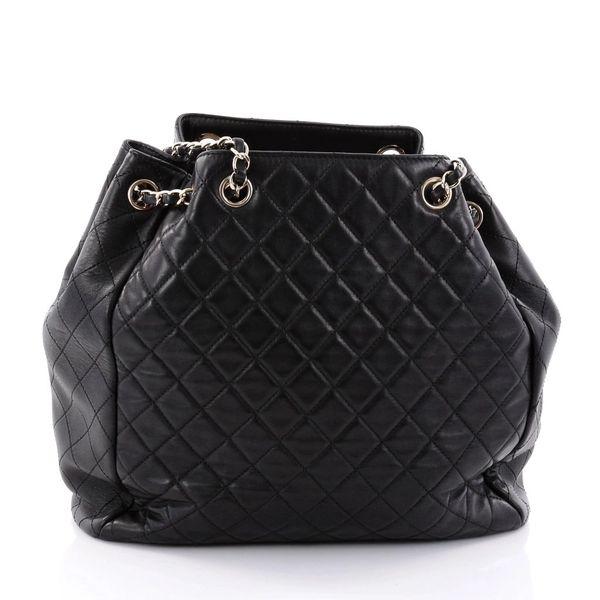 6c908e82591eac SOLD Chanel Lambskin Classic CC Drawstring Black Bucket Bag ...