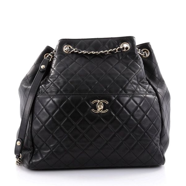 508a0d5069223f SOLD Chanel Lambskin Classic CC Drawstring Black Bucket Bag ...