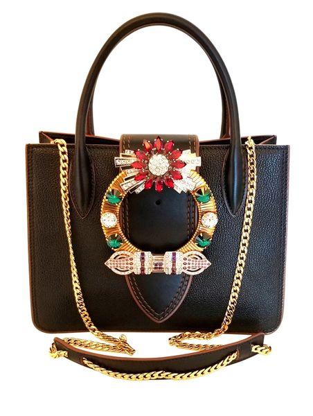 fde79f264281 Miu Miu Madras Lady 2018 Jeweled Crystal Embellished Shoulder Black Leather Cross  Body Bag