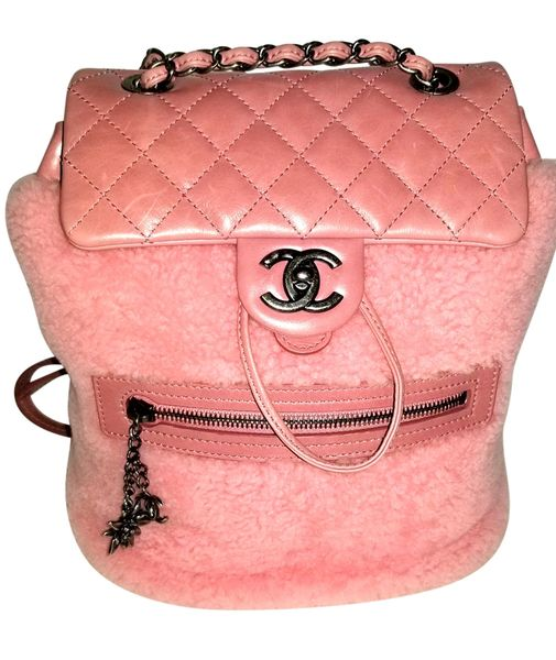 97b37b15f958 SOLD Authentic Chanel Backpack Pink Shearling Quilted Calfskin Special  Edition