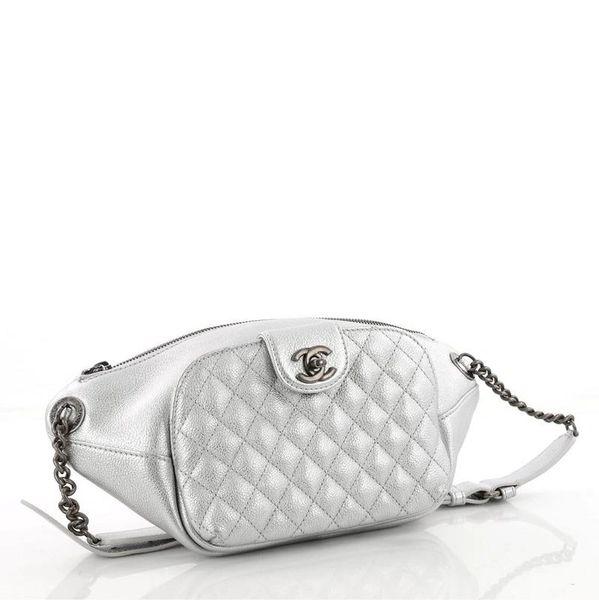 383a59dba3b6 SOLD Chanel Waist Banane Money Belt Bum Metallic Silver Leather Messenger  Bag
