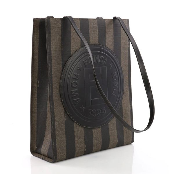 586e8aea35 SOLD Fendi Pequin Stripe Shopper Shoulder Brown and Black Canvas Tote