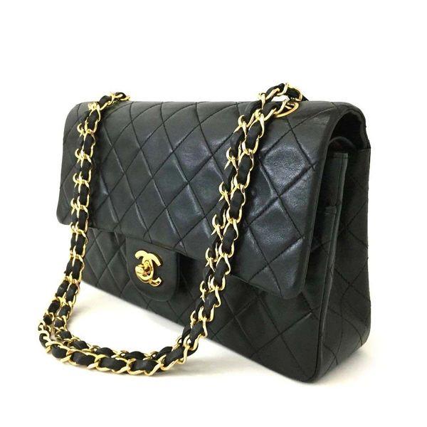 c320e604db9a SOLD Chanel Vintage Double Flap Classic Black Lambskin Chain Bag ...