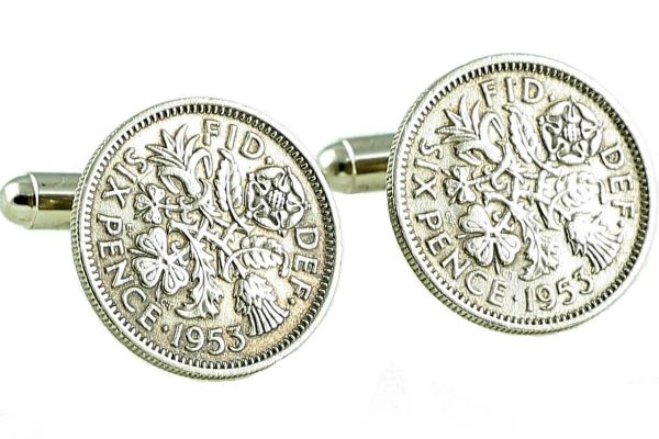 Mens 65th Birthday Gift Cufflinks Made With 1953 Sixpence Coins