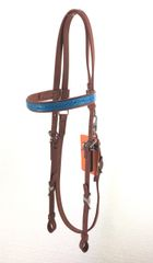 Browband OR Hackamore Bridle - Brown Beta & Turquoise Trim