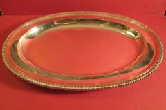 Antique British Silver Sterling meat platter with gadrooned edge and plain center. London, 1834, by Messers Barnard, weight 59 troy oz.