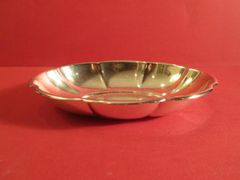 Sterling silver oval dish with lobed border. American, ca. 1950.