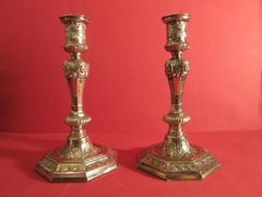 Ornate pair of fused silver candlesticks, French, ca. 1900.