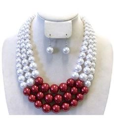 RED & WHITE PEARL NECKLACE SET